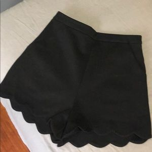 NWT Lush high waist black scallop shorts